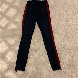 Zara baby blue skinny jeans with a red stripe